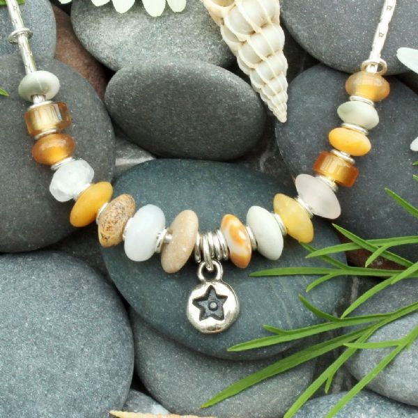 Pebble necklace, natural stone necklace, star, seaside inspired, light coloured necklace no.7